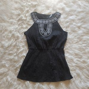 Women's Black Embroidery Tank Top